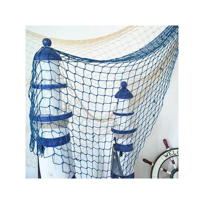 Filet de décoration en coton de couleur bleu
