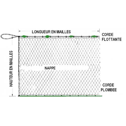 Maille 10mm filet maillant en monofilament hauteur 1,21m longueur 25m en 12/100ème.