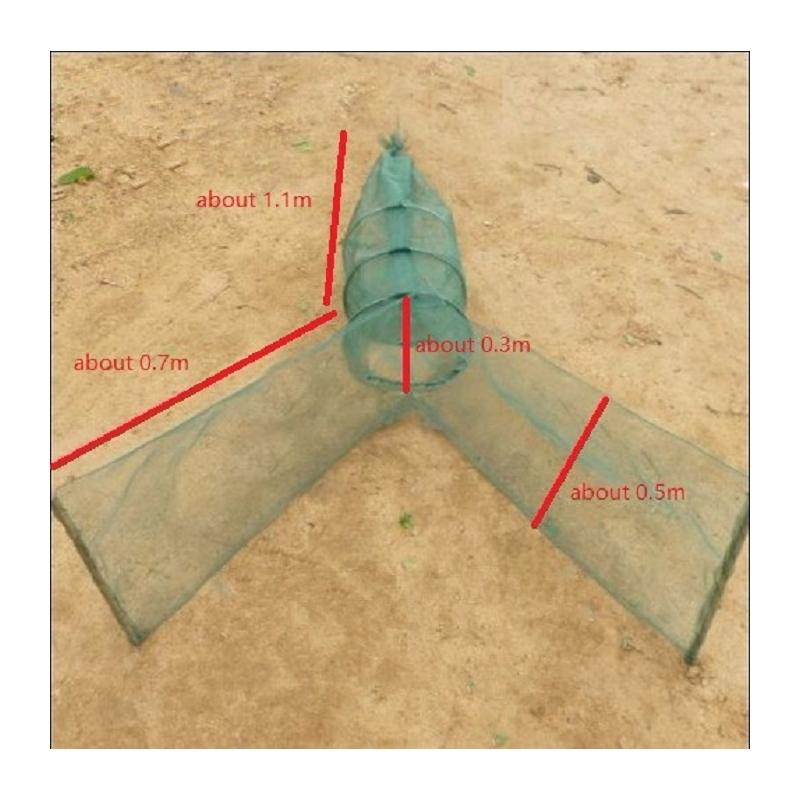 Verveux à deux ailes maille 3mm lg 1.80 mètres environ pour pêche scientifique, pisciculture etc