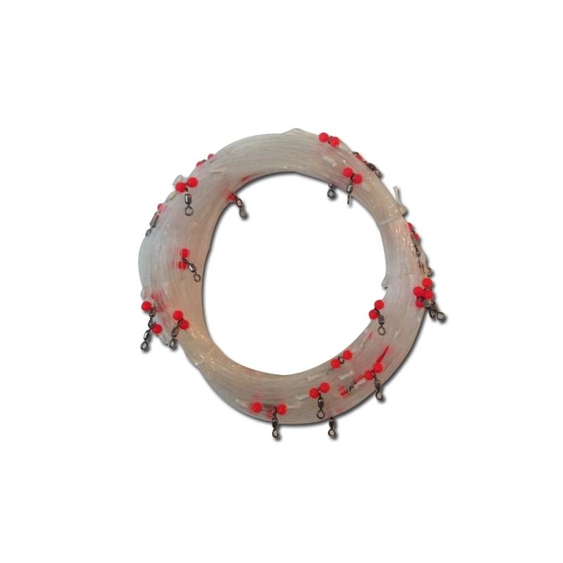 Monofilament à palangres pour bars, loups, ø 1.3mm 100 mètres 30 émérillons