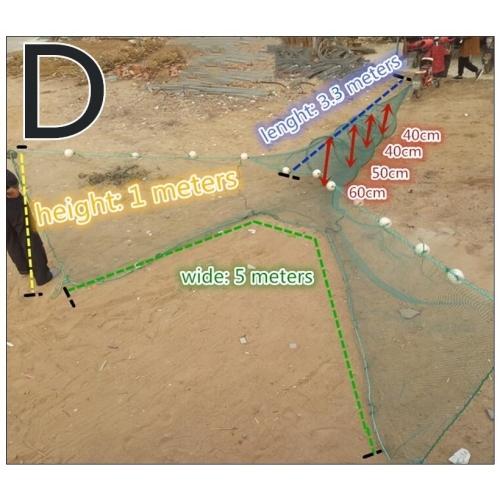 Verveux à deux ailes maille 3mm lg 5.70 mètres environ pour pêche scientifique, pisciculture etc